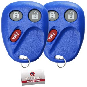 KeylessOption Keyless Entry Remote Control Car Key Fob Replacement for LHJ011 -Blue (Pack of 2)